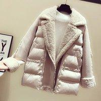 MUMUZI 2019 kış yeni yaka moda ceket kadın pamuk giyim kuzu saç parkas kadınlar için uzun sıcak polar cott
