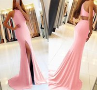 Elegant Pink Mermaid Evening Dresses 2019 Sexy Cutaway Sides...
