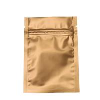 Più dimensioni 200 Pz / lotto Oro Smerigliato Mylar Zipper Pacchetto Pouch Zip Lock Foglio di Alluminio Sacchetto di Imballaggio Per Caffè Tè in Polvere Bulk Cibo