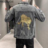 Vestes pour hommes Yasuguoji Fashion Hommes Veste Retro Blue Sequins Design Design Ripped Coats Streetwear Hip Hop Denim