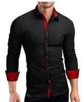 قمصان رجالية طويلة الأكمام عارضة ضرب اللون يتأهل أسود رجل اللباس الذكور جودة عالية القمصان 4xl