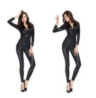 Nueva llegada de moda mujer Hot Sexy Snake Skin mono de cuero de imitación Catsuit cremallera frontal Bodycon traje fetiche general