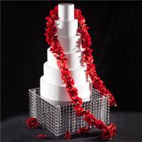 16 pulgadas magdalena de la boda cuadrada soporte de la torta araña de cristal acrílico destacan piezas centrales de la fiesta de cumpleaños decorativa