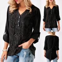 여름 여성의 V 넥 꽃 크로 셰 뜨개질 사무실 OL 셔츠 블라우스 캐주얼 긴 소매 느슨한 쉬폰 블라우스 셔츠 작업복 의류