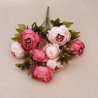 1 ramo de flores de peonía de seda vívida hojas falsas flores de seda artificiales europeas ramo de novia boda hogar decoración del partido planta falsa