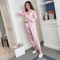 Pijama pijamas de seda para las mujeres de raso mujeres pijamas de manga larga Turn-down Collar de bolsillo Decor Top + pantalones de seda