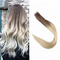 Russische Remy Haarverlängerung Unsichtbares Band in den Haaren 2,5g / PCs 40pcs / lot Ombre Color 6/613 Hohe Licht dicke Haarverlängerungen