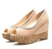 Lena ViVi natureza vento strass grão de madeira peep toe sapatos mulheres plataforma cunhas sapatos sapatos de casamento tamanho 34 a 39