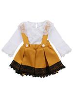 Девочки Одежда Набор Rompers + лук Suspender юбка 2 PCS Lace Boutique Ins осень с длинным рукавом Romper