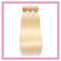 Estensioni dei capelli umani indiani all'ingrosso bionda dritto 613 # colore chiaro biondo un fascio di prodotti per capelli 10-32 pollici