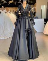 신부 드레스의 어두운 회색 어머니 A 라인 긴 소매 공식적인 Godmother 저녁 웨딩 파티 게운 플러스 크기 사용자 정의