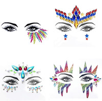 Tattoo Face Jewel Sticker per le donne Party Holiday Sopracciglio Crystal Eyes scintillanti Gems 3D Glitter Body Art Stage Makeup Deco 3pcs / lot