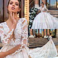 Robes de mariée sexy conçues de robe de boule Une ligne 3D dentelle Appliques Sheer cou manches longues Formel Western Robes de mariée Robe de maternité