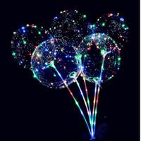 Luzes LED Balões Noite Iluminação Bobo Bola Multicolor Decoração Wedding Party Balloon Decoração balões brilhantes Isqueiro com vara