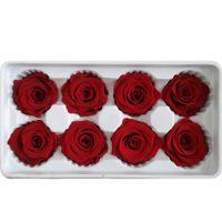 8pcs / kutu Kaliteli Çiçek Çiçek Ölümsüz Rose 5 cm Çap Anneler Günü Hediye Ebedi Hayat Çiçek Malzeme Hediye Kutusu Preserved