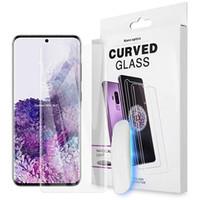 UV 전체 접착제 화면 보호기 S21 Ultra Support Subsung S20 Plus에 대한 지문 터치 강화 유리 20 Huawei P40 Pro