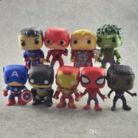 DC Justice League Marvel Avengers Hulk Iron Man Spiderman Logan Modelo Figura de acción Modelo de colección de juguetes para regalo 9pcs a much funko pop