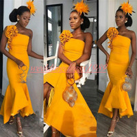 Alla moda Africano High Low Mermaid Abiti da sera Giallo 2019 Ruffle Cocktail Plus Size Pageant Abiti Occasioni speciali Prom Dress Party Formal