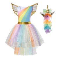 Yofeel rainbow يونيكورن اللباس لفتاة تأثيري حلي الاطفال توتو تحلق الأكمام حزب هالوين عيد الميلاد الأميرة فساتين J190705