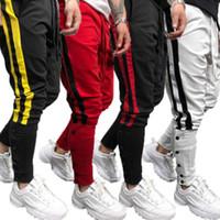 Hiphop Dans Jogger sokak giyim Sıska Elastik Bel Koşucular Casual pantolon Koşu Erkek Spor Jogger Pantolon Çizgili Patchwork