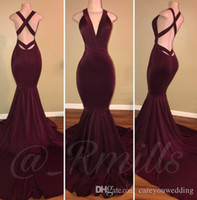 Burgundy 2019 Mermaid Prom Dresses Deep V Neck Sexy Backless Sweep Train Formal Evening Party Gowns Custom Simple Cheap Dress Elegant