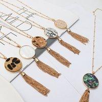 Rond Abalone shell léopard serpent peau pendentif granuleux collier glands à chaîne pull collier collier bijoux géométrique