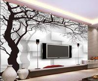 de beaux paysages papiers peints en noir et blanc peint à la main 3d arbre abstrait mur de fond TV carré