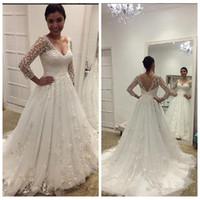 V-Ausschnitt mit langen Ärmeln SpitzeAppliques A-Linie Brautkleider Modest Brautkleider 2020 Customized Vestidos De Mariee