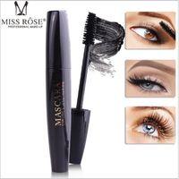 Maquillaje de ojos Miss Rose 4D máscara resistente al agua de larga duración de las pestañas maquillaje grueso Curling Mascara Negro 4D Seda Fibra Lashes Mascara Extensión