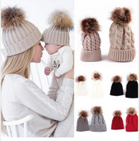 2Pcs family Mother Kid Baby Child Hats Warm Winter Knit Bean...