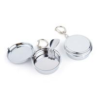 Pochette en acier inoxydable de cendrier portable Montre à cendrier cendrier de cendrier avec accessoires de cigarettes de porte-clés
