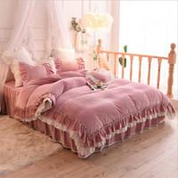 Encaje romántico princesa ropa de cama traje edredón cubierta 4 fotos volantes funda nórdica ropa de cama de alta calidad ropa de cama suministros textiles para el hogar