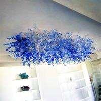 Лампы синие стекла люстры потолочные светодиодные светодиодные светильники осветительные светильники живущая столовая искусство декор современной люстры с луковицами