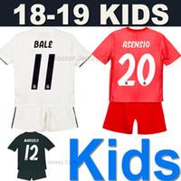 18 19 Kits para crianças Real Madrid camisa de futebol 2019 Kids soccer jersey football shirt EA Sports ISCO MODRIC MARIANO ASENSIO BALE top Tailândia qualidade juventude Meninos conjunto uniforme