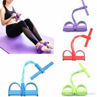 Fitness gomme 4 bandes de résistance Tube latex Exerciseur à pédales Assoyez-vous tirer la corde Expander bandes élastiques équipement de yoga Pilates Workout outil FY7009