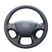 Handgenähte Schwarz PU Kunstleder Auto-Lenkrad-Abdeckungen für Infiniti JX35 2013 M M25 M35 M37 M56 Q70 QX60 Nissan