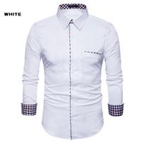 Yeni Erkek Tasarımcı Elbise Gömlek Chemise Homme Moda Tasarım Uzun Kollu Beyaz Slim Fit Erkekler Camisa Masculina