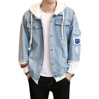 New Fashion Men Jeansjacke Coat Herren Handsome Fake Zweiteiler Freizeithemd Jacke Hip Hop Cowboy Outwear