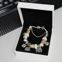 Bracelet perlé Pendentif Charme pour bijoux Pandora avec boîte originale de haute qualité Elegant Life Arbre Pendentif Dames CZ Diamond Bracelet