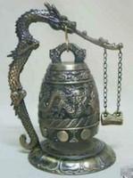 Knal! Heet verkopen! Nieuwe beroemde Tibet Bronzen Boeddhistische Dragon Singing Bell Lucky Garden Decoratie 100% Real Tibetan Silver Brass