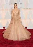 2019 Nouvel Oscar Jennifer Lopez Tapis Rouge Robes de Célébrités Sheer Perlée Tulle Robes De Soirée De Champagne 883