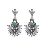Europeand America Beautiful Fashion Silver Gold libero orecchini di cristallo della vite prigioniera Elegante turchese ciondola gli orecchini per le donne