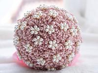 럭셔리 수제 진주 결혼식 꽃 꽃다발 패션 별이 빛나는 라인 석 구슬 라운드 꽃 부케 신부 용품에 대 한 선물