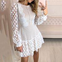 2020 تصميم جديد البولكا النقاط منقط الشاش خليط الدانتيل عالية الخصر سطر فستان قصير vestidos اللون الأبيض الأزياء الأوروبية المرأة