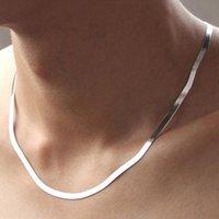 Basit Moda 925 Gümüş Kolye için Kadın Erkek Unisex Düz Yılan gerdanlık Link Zinciri Istakoz Kapat Kolye Collares 4mm 18 20 İnç