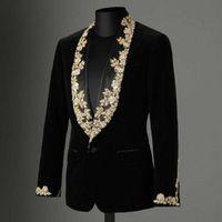 High Quality Winter Black Männer Samtanzug Gold-SpitzeAppliques Schal Revers dünner Blazer Abendkleidung Plus-Only One Jacke