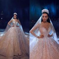2020 Luxe Trouwjurken Bling Full Beaded 3D Floral Applicaties Kant Lange Mouwen Hof Trein Arabische Bruidsjurken Robe de Mariée