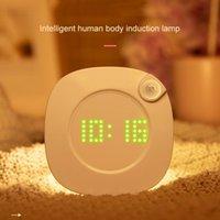 Hareket Sensörü LED Gece Işık Zaman Saati Ile Duvar Lambası Mıknatıs Kapalı Gece Lambası Banyo Yatak Odası Koridor Dolap Duvar Işıkları Için