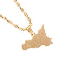 الفولاذ المقاوم للصدأ إيطاليا صقلية خريطة قلادة القلائد الذهب اللون الإيطالية صقلية هدايا مجوهرات