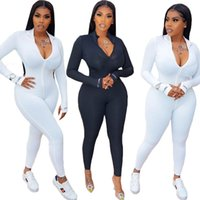 High Elastic Fitness Rompers Womens Jumpsuit Deep o Neck Ful...